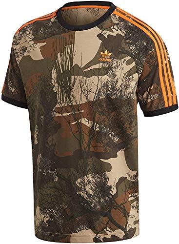 adidas Camo AOP tee T-Shirt, Hombre, Hemp/Brown Oxide/Earth Green/App Signal Orange, M