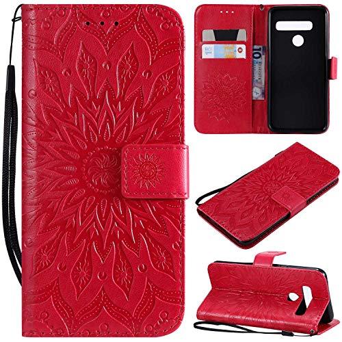 KKEIKO Hülle für LG G8 ThinQ, PU Leder Brieftasche Schutzhülle Klapphülle, Sun Blumen Design Stoßfest Handyhülle für LG G8 ThinQ - Rot