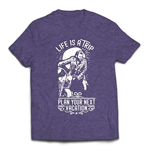 lepni.me Camisetas Hombre la Vida es un Viaje - Ideas de Regalos para Moteros, diseño gráfico de Bicicletas Vintage, amar Las Motocicletas (X-Large Cuero Gris Multicolor)