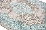 Merinos Wohnzimmerteppich mit Ornamenten Teppich Vintage in Türkis Grau Größe 80x150 cm - 3
