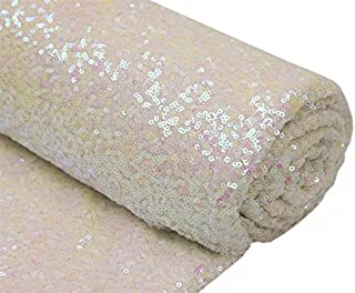 3 Feet 1 Yards Transparent WhiteSequin Fabric, by The Yard, Sequin Fabric, Tablecloth, Linen, Sequin Tablecloth, Table Runner (Transparent White)