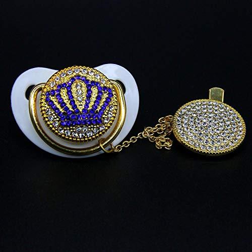 Luxus Blue Crown Baby Bling Schnuller und Schnuller Clip, Baby Registry Geschenk Schnuller Glitter Neugeborenen Unisex Baby Shower Geschenk