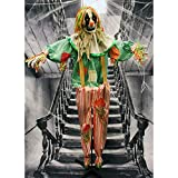 Haunted Hill Farm HHCLOWN-15FLSA Life-Size Animatronic Scarecrow Clown, Indoor/Outdoor Halloween Decoration, Multi