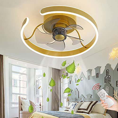 YUnZhonghe Ventilador de techo Ventilador LED moderno Luz de techo Dimensión con control remoto Ventilador Lámpara de techo Techo silencioso Invisible Fan Light Dormitorio Sala de estar Kindergarten H