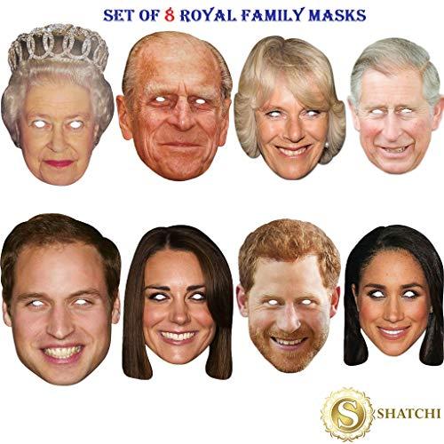 SHATCHI 8 Stück Royal Family Queen Phillip Kate William Harry Charles Camilla Meghan Hochzeit Jubilee Supplies Celebrities Gesicht Maske Junggesellinnenabschied Kostüm