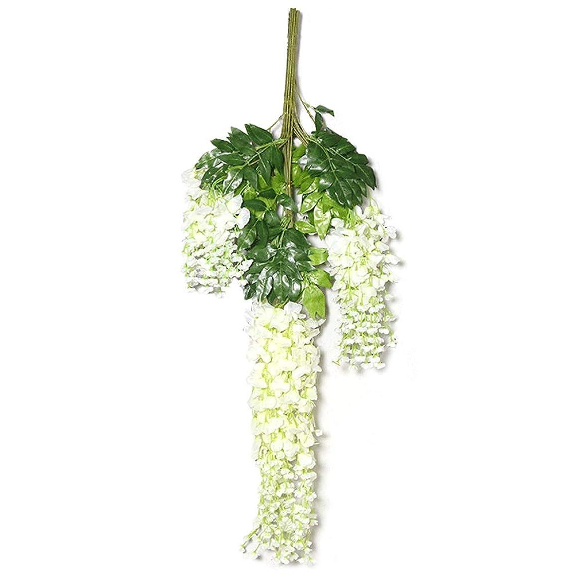言語学合理化お酒GCX- フェイクフラワー模擬藤屋根の天井バイオレット花のプラスチック製の装飾品のハンギング花植物屋内ハンギング天井の12本のスティック 永久 (Color : Milky white)