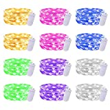 Gladpaws Fairy Lights,12 Pack LED Fairy Lights Battery Operated,7 Feet 20 LED Flexible Firefly Starry Moon String Lights for DIY Wedding Party Bedroom Christmas Decoration (Multi-Colored)