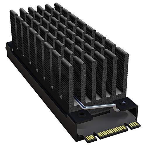 archgon HS-0130 Disipador de Calor para el refrigerador M.2 SSD 2280 PCIe NVMe/SATA, 25 mm de Altura, Cubre 57 mm, Aluminio, Almohadilla térmica 2X, Montaje con Clip de Muelle, pasivo, Negro