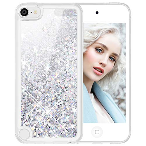 Maxdara Glitter iPod Touch 5 6 7 Case, iPod 5th 6th 7th Generation Case for Girls Children Liquid Bling Sparkle Pretty Case for iPod Touch 5th 6th 7th Generation (Silver)