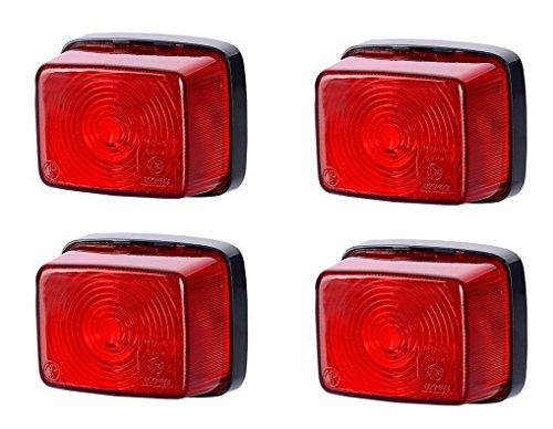 Lot de 4 feux de position latéraux arrière rouges 12 V 24 V marquage E pour voiture, camion, remorque