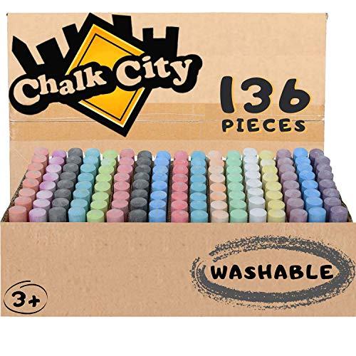 Chalk City Sidewalk Chalk, 136 Count,17 Different Colors,...