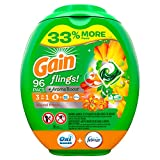 Gain flings! Liquid Laundry Detergent Pacs, Island Fresh, 96 Count