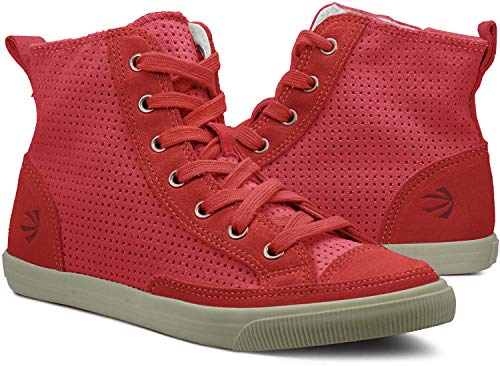 Burnetie Women's Red Perforated High Top Vintage...