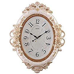 CLOCKZHJI Non Ticking Wall Clock Silent European Oval Wall Clock Silent Living Room Quartz Clock Creative Craft Clock Clock (Color : Beige, Size : 70 55cm) (Color : Beige)