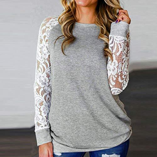 Damen Longsleeve Mode Spitze Floral Splicing O-Ausschnitt Langarm T-Shirt Bluse Tops Freizeit Sport Dance Fitness