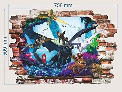 Drachenzähmen leicht gemacht wandsticker wandtattoo Wand-Zertrümmern Kinder Wandaufkleber Wandüber Wall Art Wand Tattoo 50cm X 75cm