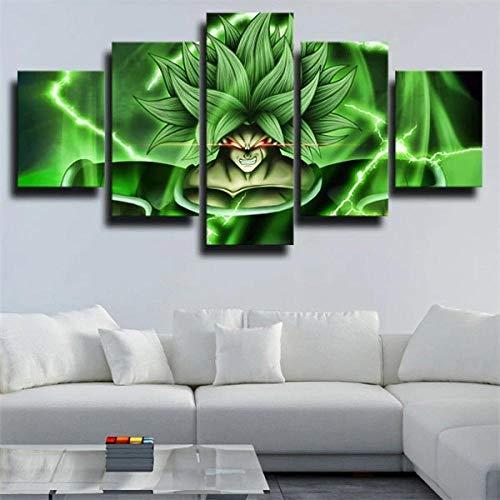 Bilder Leinwandbilder 150×80 cm Vlies Leinwand 5 Teilig Wandbilder Kunstdrucke Wandbild Bild auf Kunstdruck Wanddeko Wand Modern Wohnzimmer Haus Wanddekoration Broly Green Background Anime Charakter