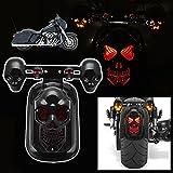 Candance Skull Integrated LED Rear Tail Light Side Mount Plate with Turn Signal for Harley, Honda, Suzuki, Kawasaki, Yamaha, Black