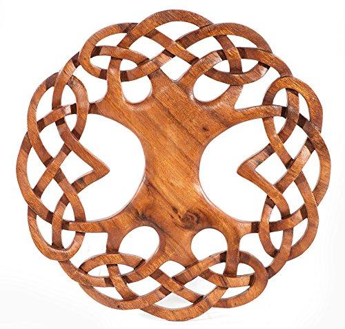 Windalf Großer Lebensbaum Winwood Ø 31 cm Wand Deko mit keltischem Knoten Handarbeit aus Holz