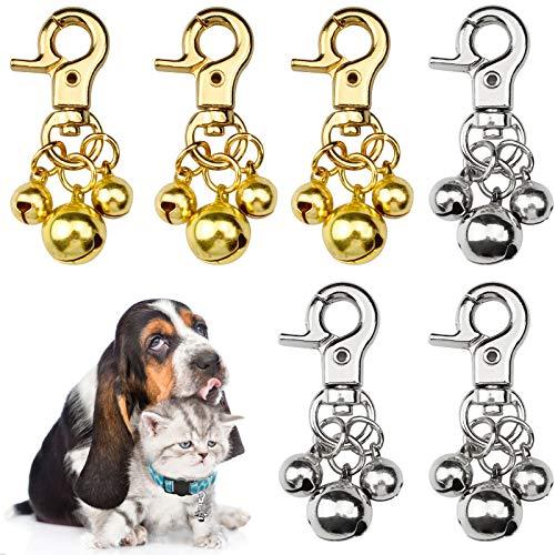 YapitHome 6 Piezas Cascabeles para Perro Colgantes de Campanas Cobre Campanillas de Collar de Mascota para Adornos para Mascotas, Collares, Llaveros, Mochilas, Carteras.