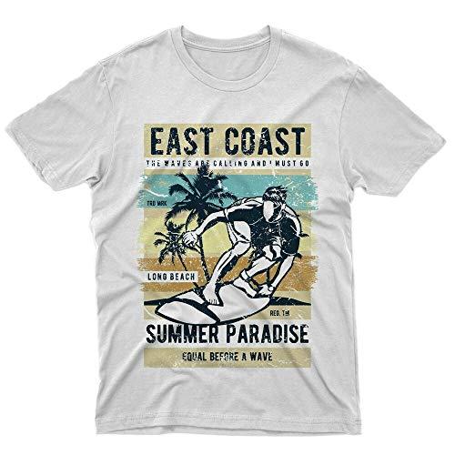 fm10 t-Shirt East Coast Summer Paradise Estate Surf Palme spiaggia Mare Look White L