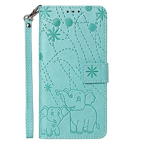 FAWUMAN Funda Xiaomi Redmi Note 5A,Funda Piel PU,Soporte Plegable,Ranuras para Tarjetas y Billetes,Magnético Cerrado Caja del teléfono móvil con cordón Elefante de Fuegos Artificiales 3D(Verde)