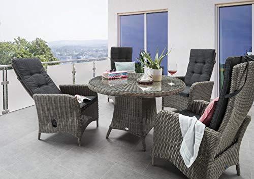 Destiny Sitzgruppe Luna Vintage Grau Garnitur Gartenmöbelset Polyrattan 9teilig