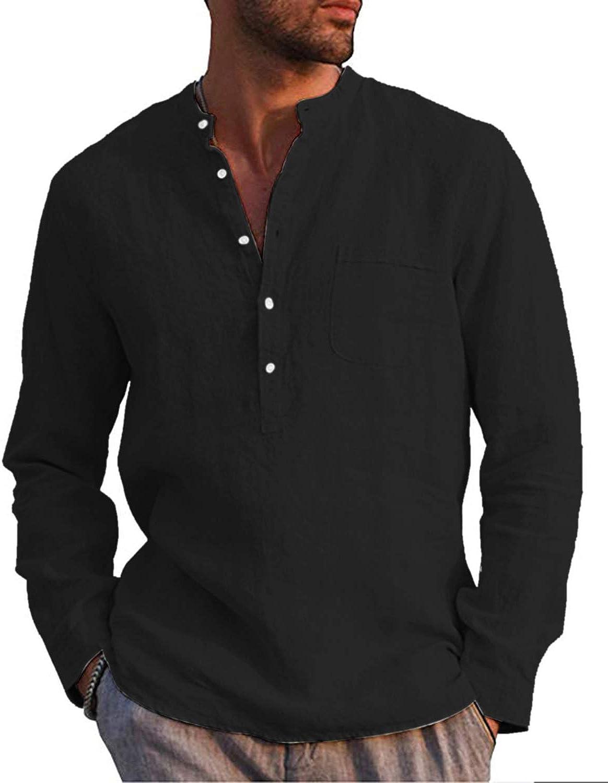 AUDATE Bargain sale OFFicial Mens Cotton Linen Shirt Henley Casual S Sleeve Long