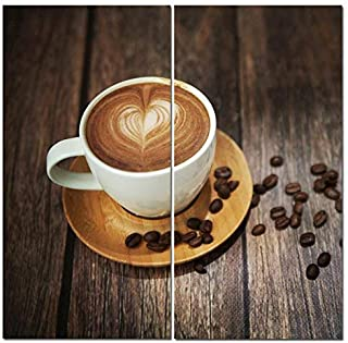 Canvas Wall Art Decor - 12x24 2 Piece Set (Total 24x24 inch) - Cafe Coffee Latte - Decorative & Modern Multi Panel Split Canvas Prints for Dining & Living Room, Kitchen, Bedroom, Office & Gifts [並行輸入品]