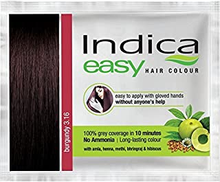 5 Pc Indica Easy10 Minutes Herbal Hair Color Shampoo Base Burgundy Herbs