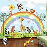 3D handbemalt Cartoon Rainbow Animal Kindergarten Kinder Kinderzimmer Schlafzimmer Schrank Wandtapete Wandsticker Aufkleber Wohndeko