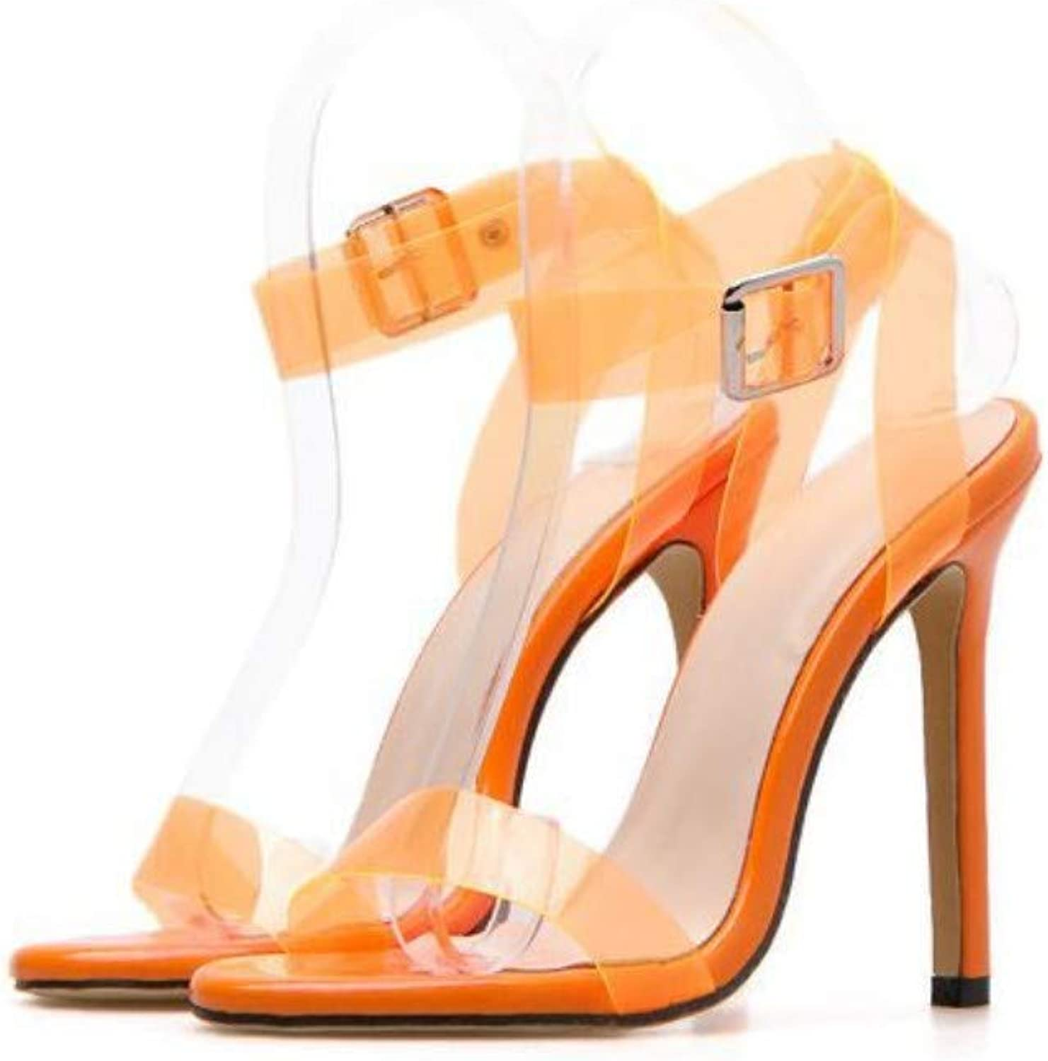 JQfashion Women's high-Heeled Pointed Slim-Heeled Sandals Candy-Coloured PVC Cross-Sexy Roman shoes