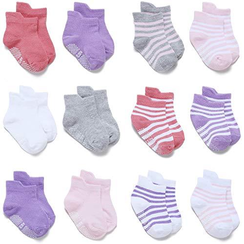 Adorel Calcetines Antideslizantes Cortos para Bebé Niñas 12 Pares Mezcla 0-12 Meses (Tamaño del Fabricante S)
