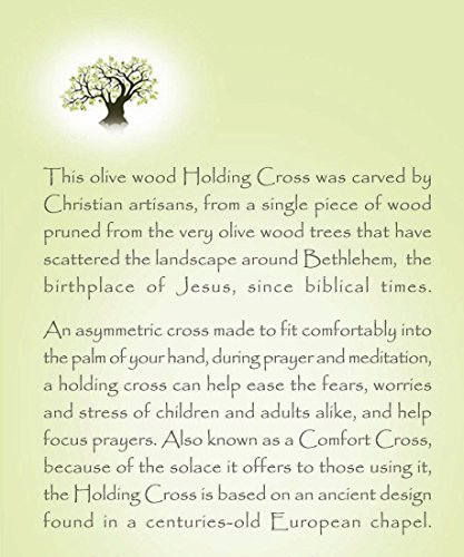 HJW Olive Wood Thin Holding Hand Comfort Cross Holyland - Certificate & Explanation Card