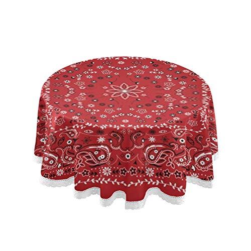 ZANSENG Mantel, 60 Pulgadas Redondo Rojo Paisley Bandana Cubierta de Mesa manteles de impresión Lavables para Cocina Comedor decoración de Mesa de Granja
