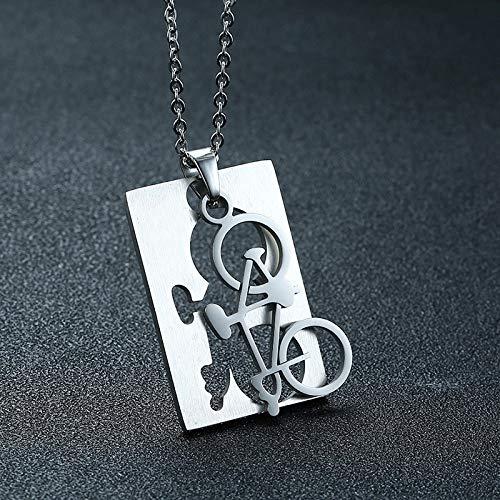 VAWAA Collares de Estilo de Bicicleta Deportiva para Hombres Joyas de Acero Inoxidable Regalos Masculinos de Colar