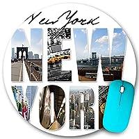 KAPANOU ラウンドマウスパッド カスタムマウスパッド、ニューヨーク市をテーマにしたモンタージュまたはコラージュで、さまざまな有名な場所や地域を紹介しています、PC ノートパソコン オフィス用 円形 デスクマット 、ズされたゲーミングマウスパッド 滑り止め