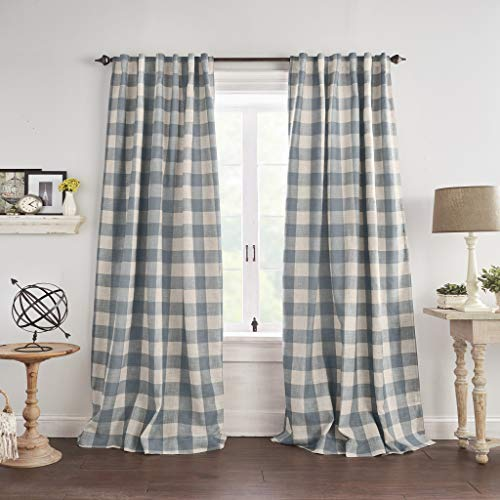 "Elrene Home Fashions Grainger Buffalo Check Blackout Window Curtain Panel, 52""x95"" (1, Chambray"