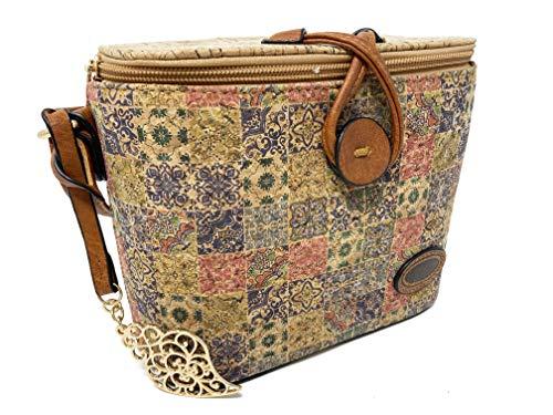 Schoudertas voor dames van kurk, vierkant, mandala-design, meerkleurig, met verstelbare riem van kunstleer met vergulde hanger, kunstlederen sluiting