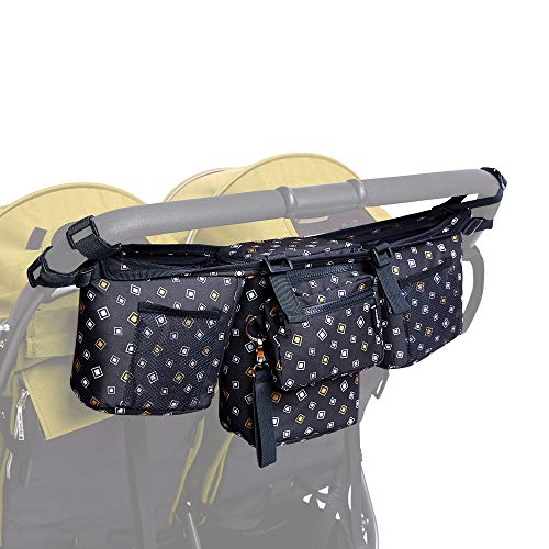 Double Stroller Organizer - Stroller Caddy for Double and Twin Strollers - Parent Console with Zipp-Off Pouch - Multisectioned Compartments for Baby Accessories + 6 Straps for Extra Support