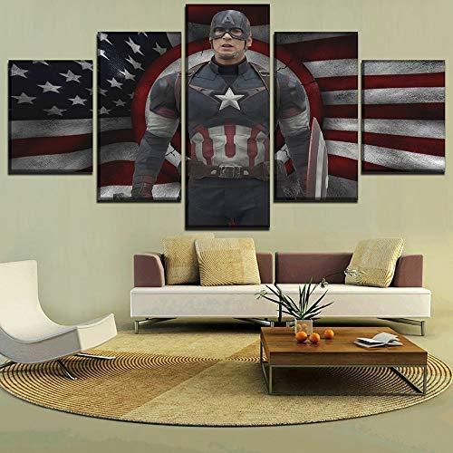 ZMUUA DIY 5D Diamant Malerei Wandkunst Strass Bild 5 Stück amerikanische Flagge & Film Captain America Gemälde Dekor Wohnzimmer Print Poster R&e Diamant