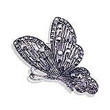 broche NUEVO Vintage Mariposa Broche Insecto Cristal Sapa Pin Sweater Coat Corsage Broche Joyería Regalos de Lujo para Mujeres Accesorios Broches y alfileres ( Metal color : Antique Silver Plated )