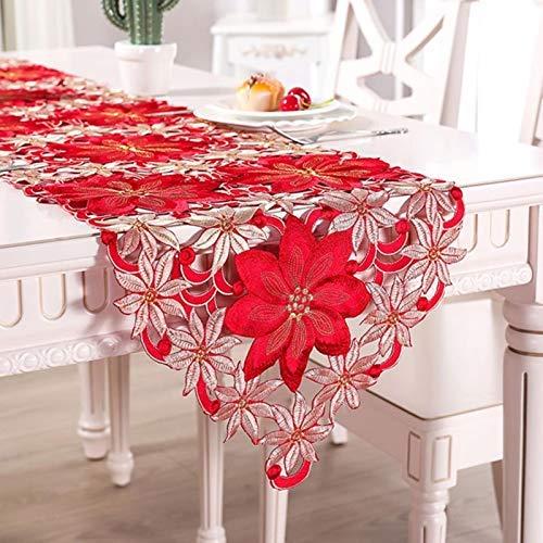 Aiovemc Bordado rústico de Doble Espesor Tabla Floral Corredores de Navidad Decoraciones de