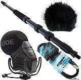 Rode SVM PRO–Stereo VideoMic Pro + Keepdrum Boom Pole Pro mpb01+ WSBK piel Protector de viento + 3m garantía Mini Jack