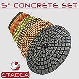 STADEA Premium Grade Wet 5' Diamond Polishing Pads Set For CONCRETE Polish