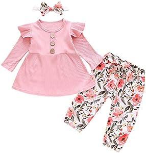 Bebé Ropa para niñas pequeñas Mamelucos de Manga Larga Conjuntos de Ropa de Flores Trajes de Lazo Pantalones con Conjuntos de Diadema