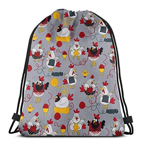 Yuanmeiju Knitting Chickens Knitting Chickens Grey 3D Print Kordelzug Rucksack Rucksack Shoulder Bags Sporttasche for Adult 16.9
