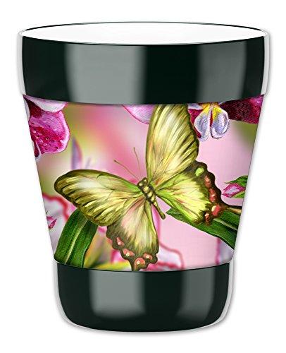 Mugzie Gobelet Boisson Tasse avec housse isotherme plongée amovible–Vert Papillon, plastique, multicolore, 12 ounce