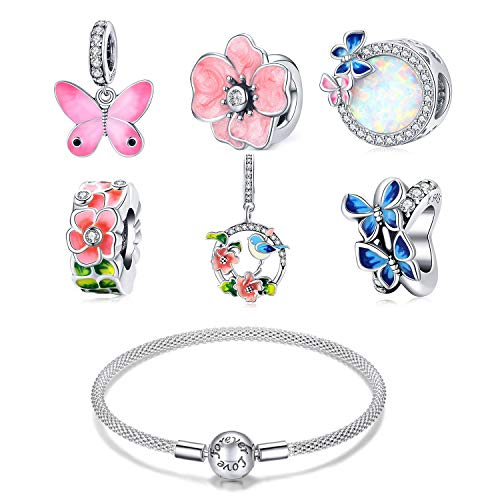ZiFouDou Mesh Bracelet for Pandora Bead Charms with 925 Sterling Silver Bead Charm- Birds and Flowers