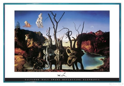 Close Up Salvador Dali Poster Swans Reflecting Elephants (63,5x94 cm) gerahmt in: Rahmen türkis